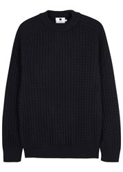 Nn.07 Franz Navy Textured Knit Wool Jumper