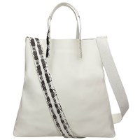 Rk New York Snake And Leather Tote Bag White