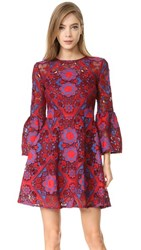 Cynthia Rowley Lace Ruffle Sleeve Dress Red