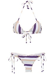 Amir Slama Striped Bikini Set Pink And Purple