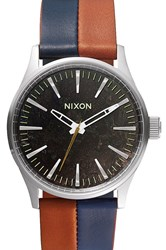 Sentry 38 Leather Dark Copper Navy Saddle Nixon Watch