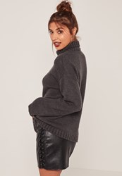 Missguided Grey Turtle Neck Slouchy Sweater