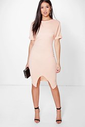 Boohoo Crepe Wrap Skirt Detail Fitted Dress Peach