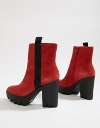 8c239379e127 Calvin Klein Chunky Red Suede Branded Heeled Ankle Boots