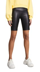 David Lerner Vegan Leather Bike Shorts Black