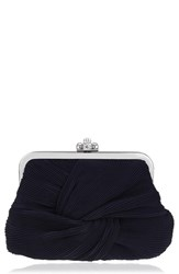 Nina Pleated Chiffon Frame Clutch Blue Navy Chiffon
