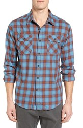 Gramicci Men's Burner Regular Fit Plaid Flannel Shirt Vision Blue