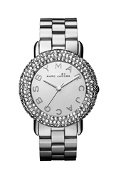 Marc By Marc Jacobs 'Marci' Mirror Dial Crystal Bezel Watch 36Mm Silver