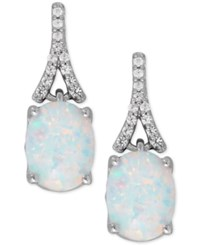 Macy's Lab Created Opal 1 3 8 Ct. T.W. And White Sapphire 1 8 Ct. T.W. Drop Earrings In Sterling Silver