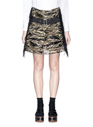 Sacai Camouflage Embroidered Organza Overlay Belted Skirt Multi Colour