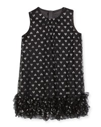 Milly Minis Tessa Embroidered Hearts Tulle Ruffle Trapeze Dress Black Silver