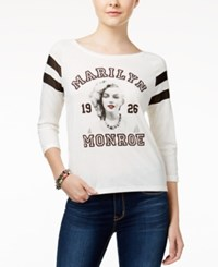 Freeze 24 7 Marilyn Monroe Juniors' Illusion Portrait Graphic T Shirt White Black