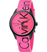 Calvin Klein Colour Stainless Steel And Rubber Watch Pink