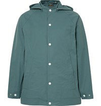 Freemans Sporting Club Water Repellent Cotton And Nylon Blend Hooded Jacket Gray Green