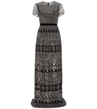 Burberry Embellished Cotton Gown Black