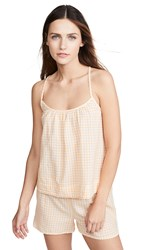 Madewell Gathered Sleep Tank Bessy Gingham Turkish Saffron