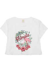 Anna Sui Florida Cropped Printed Cotton Jersey T Shirt White