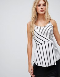 Ax Paris Striped Cami Top Cream