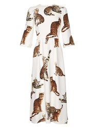 Dolce And Gabbana Cat Print Midi Dress White Multi