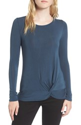 Trouve Women's Knot Front Tee Navy Midnight