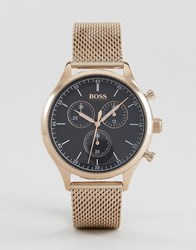 Boss By Hugo 1513548 Companion Chronograph Mesh Watch In Rose Gold Rose Gold