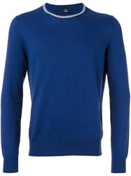 Fay Long Sleeved Sweater Men Cotton 54 Blue