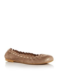 See By Chloe Women's Nubuck Leather Ballet Flats Gold