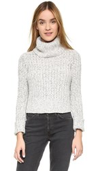 Free People Twisted Turtleneck Sweater Ivory Combo