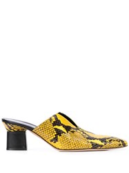 Rosetta Getty Snakeskin Mules Yellow