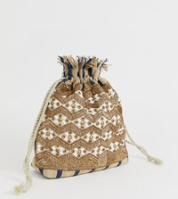 Glamorous Drawstring Ratten Embellished Woven Pouch Bag Beige