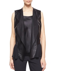 Lafayette 148 New York Shelene Leather Vest W Georgette Black