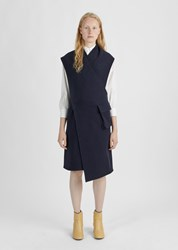 Nehera Boiled Wool Wrap Dress Dark Blue