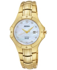 Seiko Women's Solar Diamond Accent Gold Tone Stainless Steel Bracelet Watch 29Mm Sut168