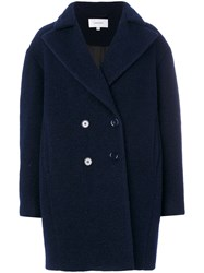 Carven Oversized Double Breasted Coat Women Polyester Acetate Viscose Wool 34 Blue