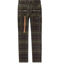 Undercover Skinny Fit Checked Wool Trousers Green