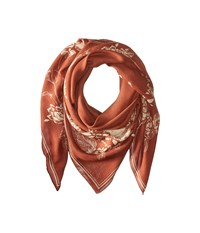 The Kooples Lightweight Modal Skull Flowers Scarf Orange