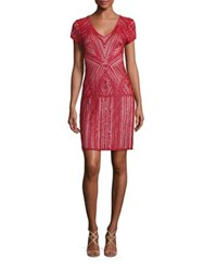 Parker Black Serena Silk Embellished Dress Ruby Red
