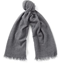 Begg And Co Kishorn Washed Cashmere Scarf Gray