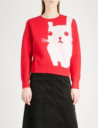 Chocoolate Rabbit Knitted Jumper Red