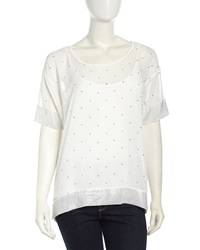 Grayse Half Sleeve Scoop Embellished Georgette Tee White
