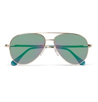 Cutler And Gross Metal Mirrored Aviator Sunglasses Green