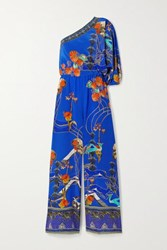 Camilla One Sleeve Printed Silk Crepe De Chine Jumpsuit Royal Blue