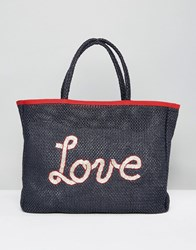 Tommy Hilfiger Woven Summer Beach Tote Bag Navy