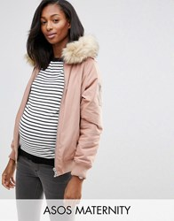 Asos Maternity Bomber Jacket With Faux Fur Hood Mink Beige