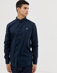 Original Penguin Icon Logo Poplin Stretch Shirt With Button Down Collar In Navy Dark Sapphire