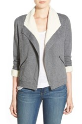 Caslon Faux Shearling Lined Knit Jacket Gray