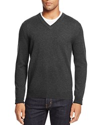 Bloomingdale's The Men's Store At Cashmere V Neck Sweater Dark Charcoal