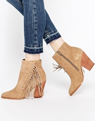 Aldo Linsey Taupe Suede Fringe Heeled Boots