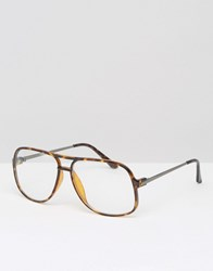 Asos Navigator Glasses With Clear Lens Tort Brown
