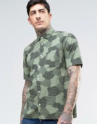 Ymc Spot Cloud Short Sleeve Shirt Green